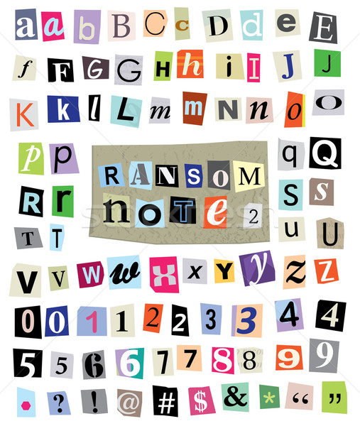 Vector Ransom Note #1- Cut Paper Letters, Numbers, Symbols Stock photo © enterlinedesign
