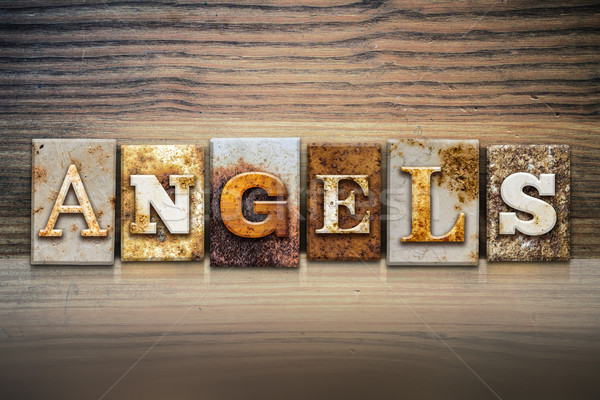 Angels Concept Letterpress Theme Stock photo © enterlinedesign