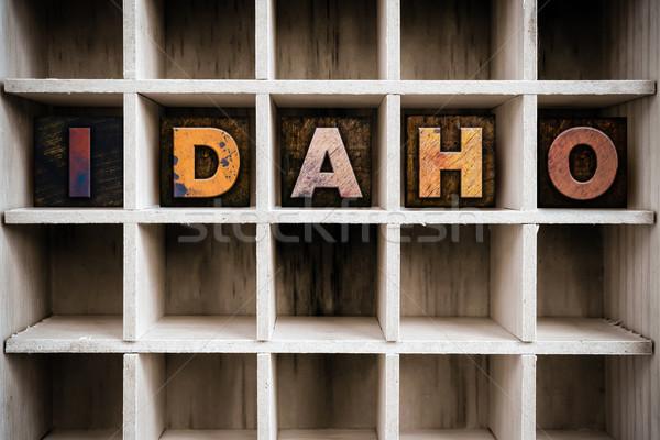 Idaho houten type trekken woord Stockfoto © enterlinedesign