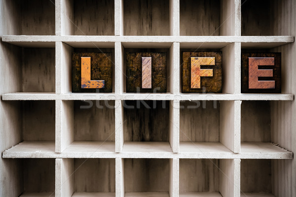 Life Concept Wooden Letterpress Type in Drawer Stock photo © enterlinedesign