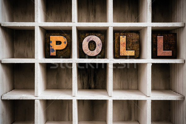 Poll Concept Wooden Letterpress Type in Drawer Stock photo © enterlinedesign
