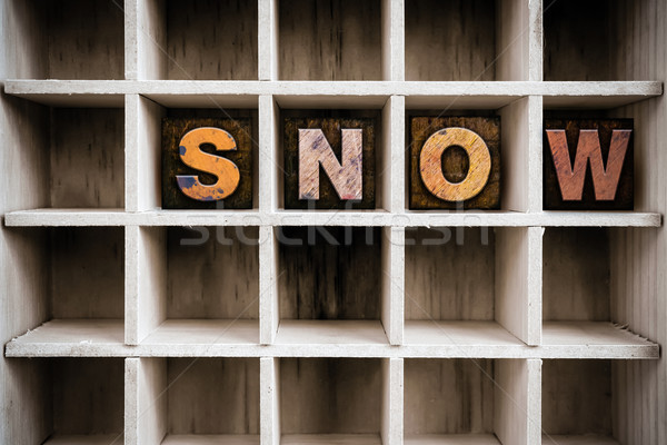 Snow Concept Wooden Letterpress Type in Drawer Stock photo © enterlinedesign