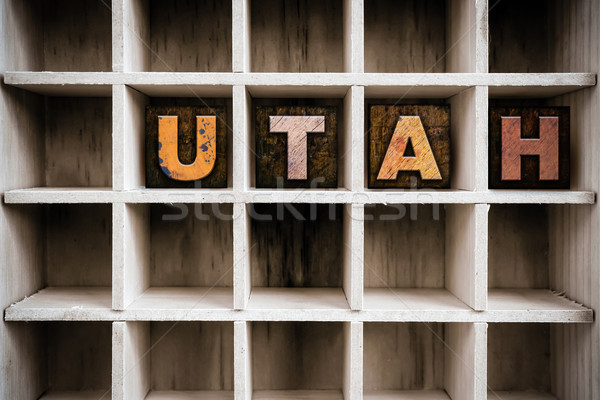 Utah houten type lade woord Stockfoto © enterlinedesign