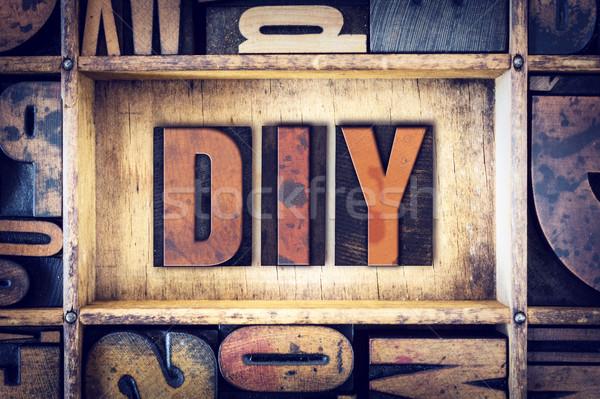 DIY Concept Letterpress Type Stock photo © enterlinedesign