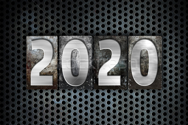 2020 Concept Metal Letterpress Type Stock photo © enterlinedesign