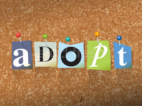 Adopt Concept Pinned Letters Illustration Stock photo © enterlinedesign