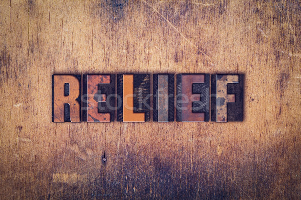 Relief Concept Wooden Letterpress Type Stock photo © enterlinedesign