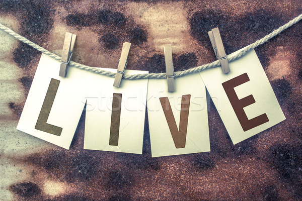 Live Concept Pinned Stamped Cards on Twine Theme Stock photo © enterlinedesign