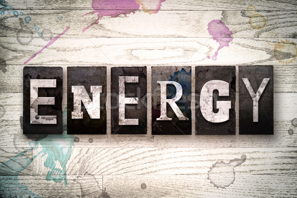 Energy Concept Metal Letterpress Type Stock photo © enterlinedesign