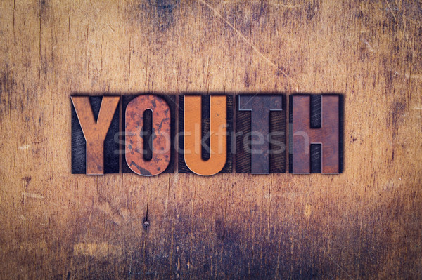 Youth Concept Wooden Letterpress Type Stock photo © enterlinedesign