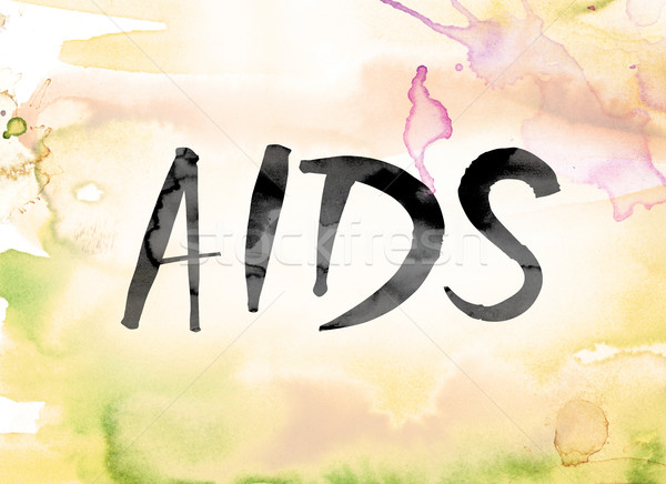 AIDS Colorful Watercolor and Ink Word Art Stock photo © enterlinedesign