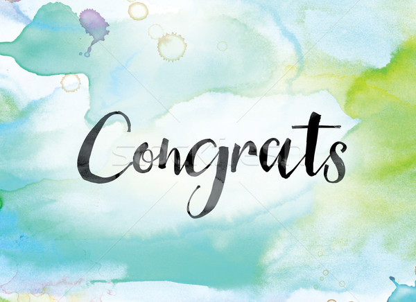 Congrats Colorful Watercolor and Ink Word Art Stock photo © enterlinedesign