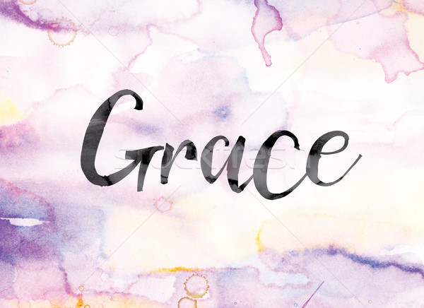Grace Colorful Watercolor and Ink Word Art Stock photo © enterlinedesign