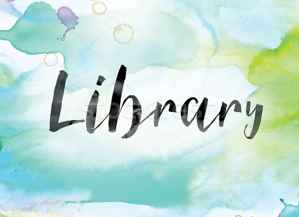 Library Colorful Watercolor and Ink Word Art Stock photo © enterlinedesign
