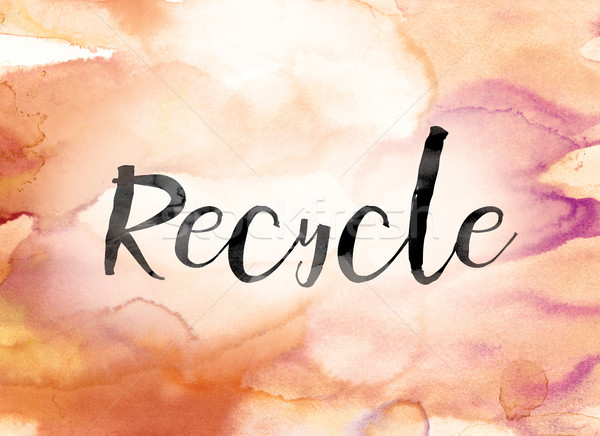 Recycle Colorful Watercolor and Ink Word Art Stock photo © enterlinedesign