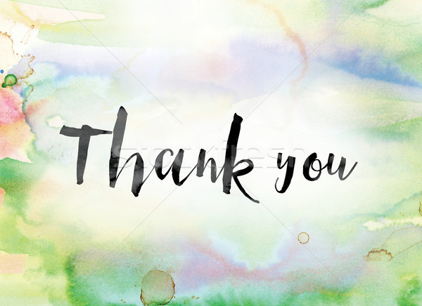 Thank you Colorful Watercolor and Ink Word Art Stock photo © enterlinedesign
