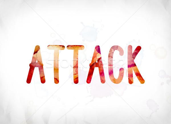 атаковать окрашенный акварель слово искусства красочный Сток-фото © enterlinedesign