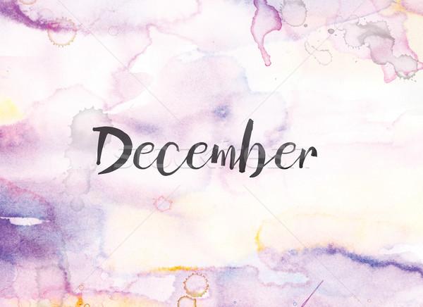 декабрь акварель чернила Живопись слово написанный Сток-фото © enterlinedesign