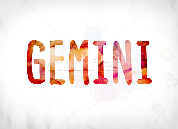 Gemini Concept Painted Watercolor Word Art Stock photo © enterlinedesign
