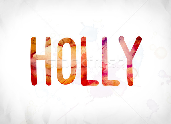 Holly Concept Painted Watercolor Word Art Stock photo © enterlinedesign