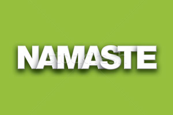 Namaste szó művészet színes írott fehér Stock fotó © enterlinedesign