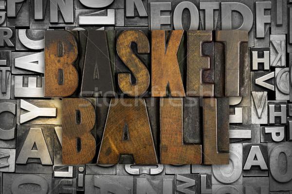Basketbol sözler yazılı bağbozumu tip Stok fotoğraf © enterlinedesign