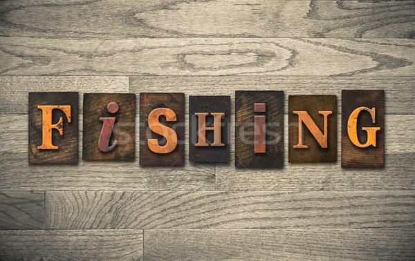рыбалки слово написанный Vintage Сток-фото © enterlinedesign