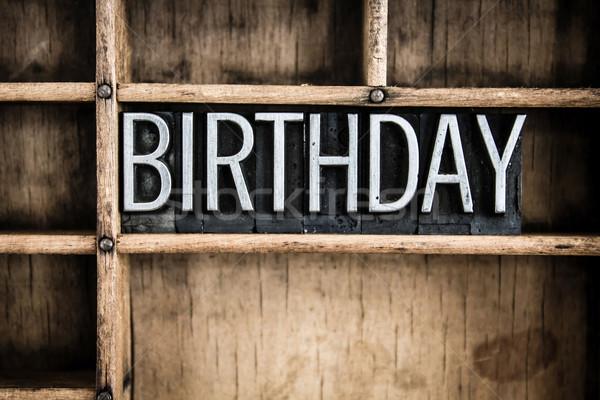 Születésnap fém magasnyomás szó fiók írott Stock fotó © enterlinedesign