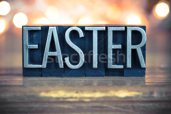 Easter Concept Metal Letterpress Type Stock photo © enterlinedesign