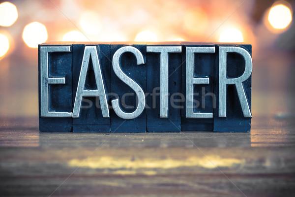 Foto stock: Pascua · metal · tipo · palabra · escrito