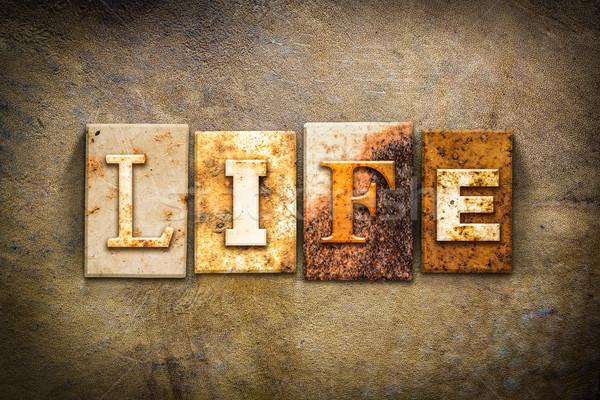 Life Concept Letterpress Leather Theme Stock photo © enterlinedesign