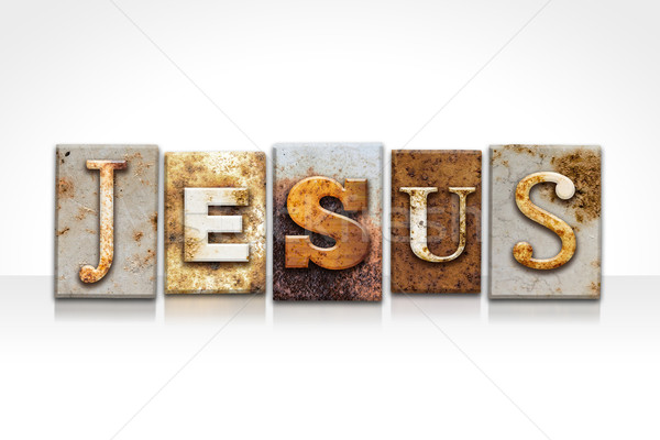 Jesus Letterpress Concept Isolated on White Stock photo © enterlinedesign