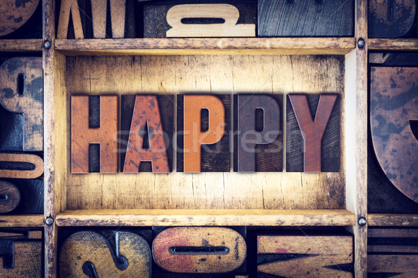 Happy Concept Letterpress Type Stock photo © enterlinedesign