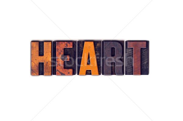 Hart geïsoleerd type woord geschreven Stockfoto © enterlinedesign