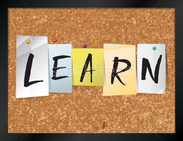 Aprender boletim conselho ilustração palavra escrito Foto stock © enterlinedesign
