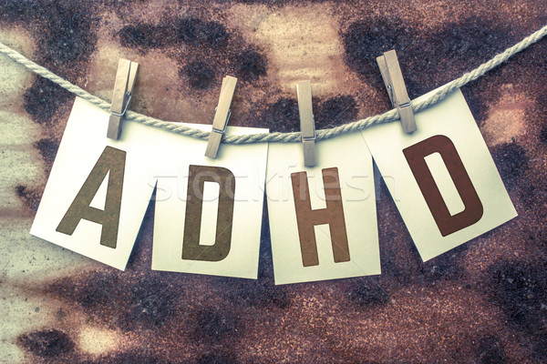 ADHD Concept Pinned Stamped Cards on Twine Theme Stock photo © enterlinedesign