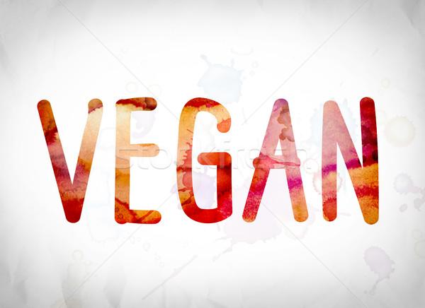 Vegan Concept Watercolor Word Art Stock photo © enterlinedesign