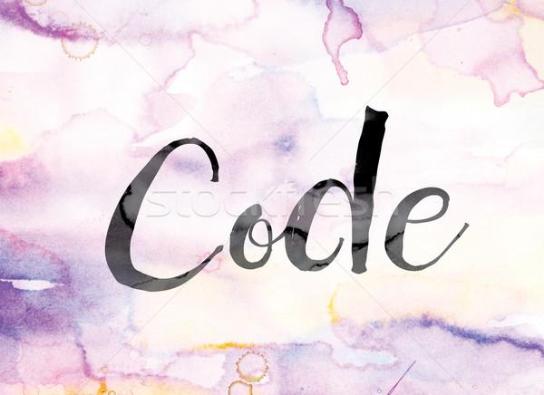 Stockfoto: Code · kleurrijk · aquarel · inkt · woord · kunst