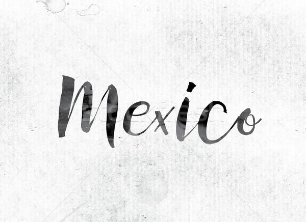 Мексика окрашенный чернила слово акварель белый Сток-фото © enterlinedesign