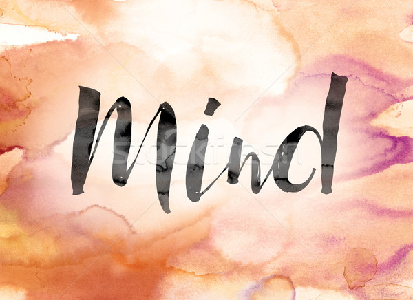Mind Colorful Watercolor and Ink Word Art Stock photo © enterlinedesign