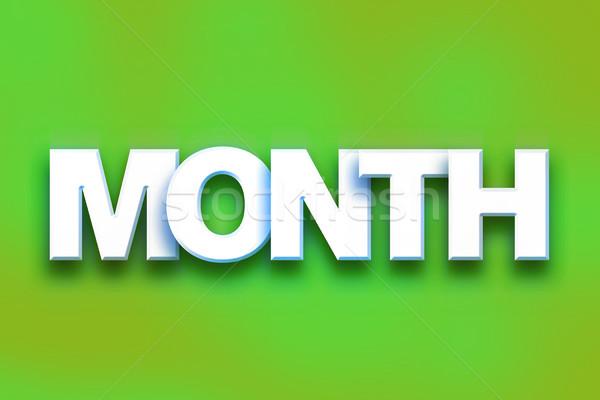 Hónap színes szó művészet írott fehér Stock fotó © enterlinedesign