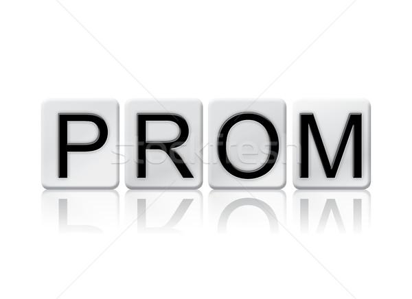 Prom geïsoleerd betegelde brieven woord geschreven Stockfoto © enterlinedesign