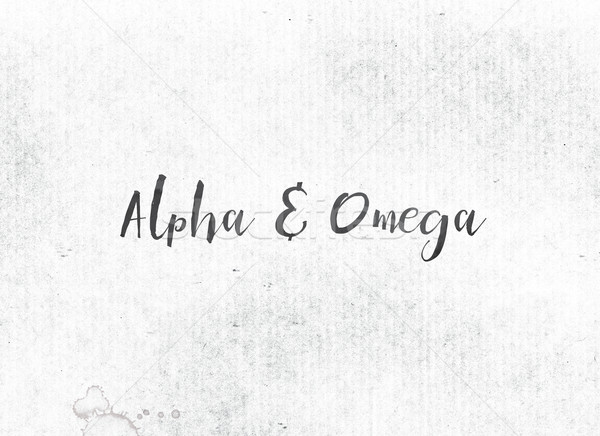 Stockfoto: Alpha · geschilderd · inkt · woord · woorden · omega