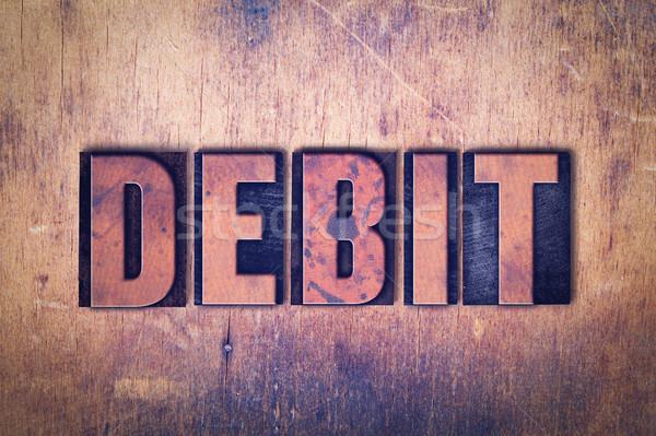 Debit magasnyomás szó fa írott klasszikus Stock fotó © enterlinedesign