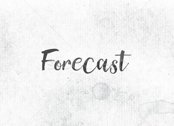 Prognose geschilderd inkt woord zwarte aquarel Stockfoto © enterlinedesign