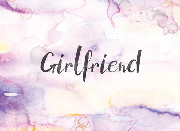 Girlfriend Concept Watercolor and Ink Painting Stock photo © enterlinedesign