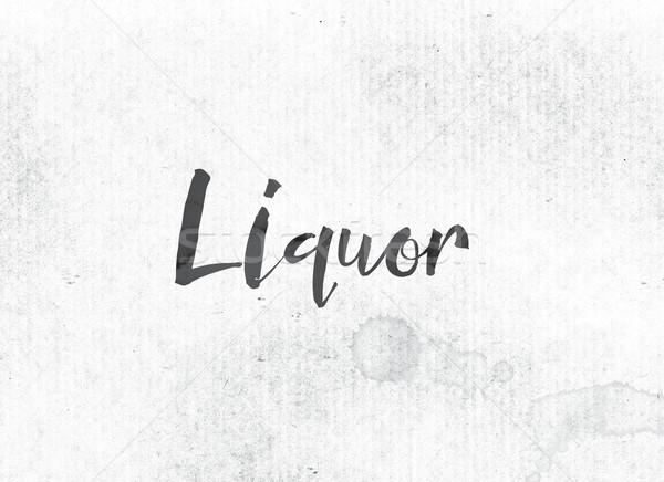 Szeszes ital festett tinta szó fekete vízfesték Stock fotó © enterlinedesign