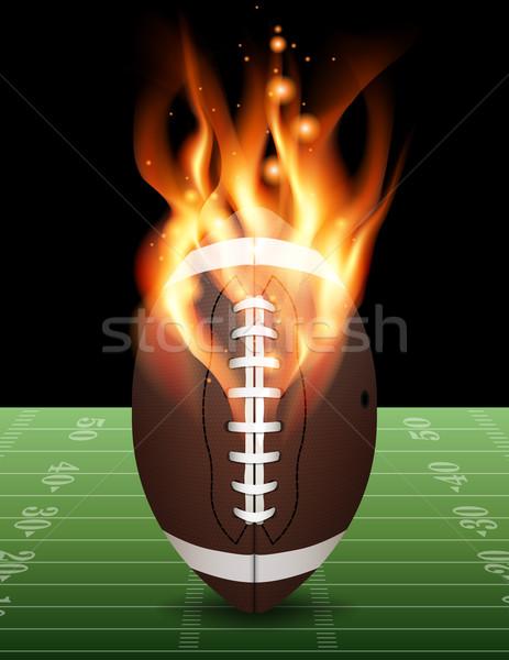 Amerikan futbol yangın örnek yanan futbol sahası Stok fotoğraf © enterlinedesign