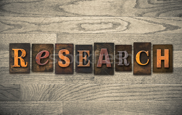 Stock photo: Research Wooden Letterpress Concept