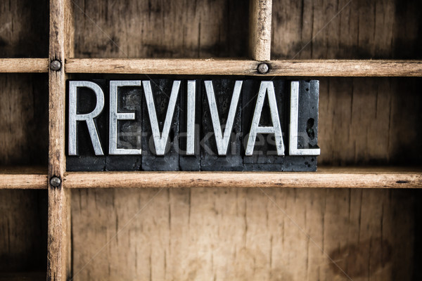 Revival Concept Metal Letterpress Word in Drawer Stock photo © enterlinedesign
